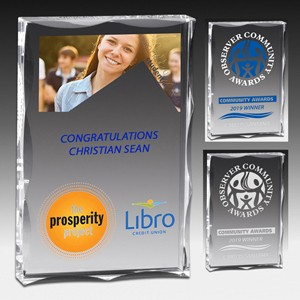 "Laser Engraved Scalloped Edge Rectangular Acrylic Paperweight Award (4""x 6""x 1"")"