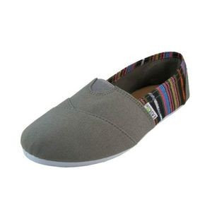 Women's Gray with Stripes Slip On Canvas Shoes